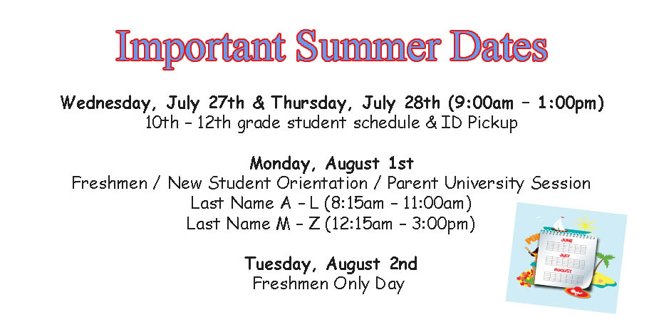 Summer Important Dates 2016