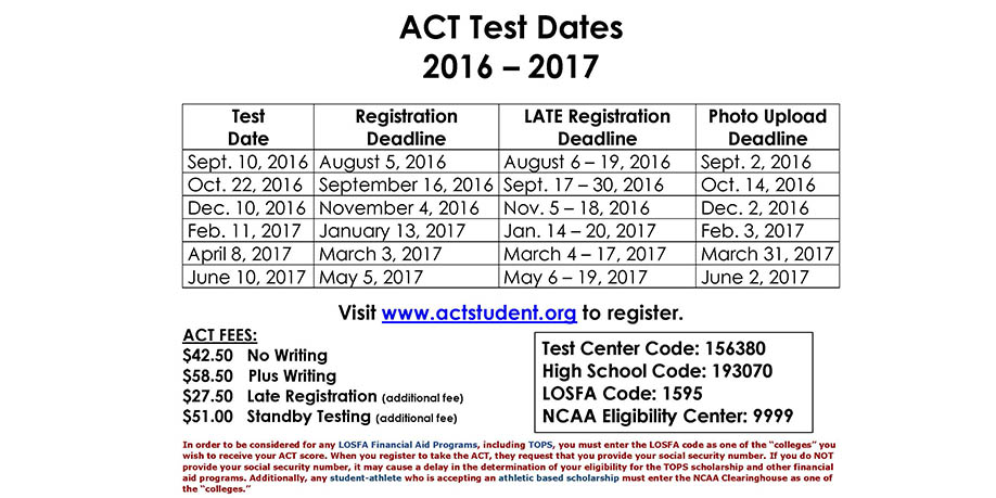 2016-17 ACT Test Dates Slider